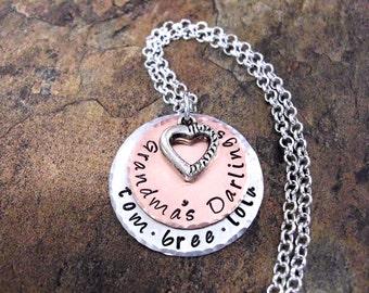SALE Grandma's Darlings, Grandmother Jewelry, Nana Necklace, Personalized Jewelry, Mommy's Girls Jewelry, Jewelry for Grandma