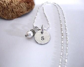 Monogram Necklace, Wedding Necklace,Initial Necklace, Sterling Silver Jewelry, Sterling Silver Necklace, Personalized Jewelry