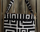 Zipper Pocket Cross Body Bag - Black and White Pattern