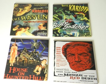 Horror Movie Coasters  Drink Tile  Movie Coasters Sublimated Ceramic Coasters Raven Body Snatchers Set Four Assorted Wall Movie Decor