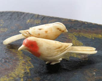 Vintage Okimono Carved Birds, Polychrome on Bone, Set of 2, Japanese Miniature Collectible Figurines