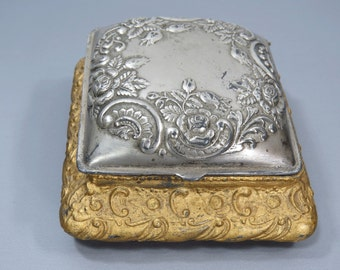 Vintage Silver & Gold Metal Jewelry Box, Variegated Orange Silk Lining - Art Nouveau Floral Repousse Design