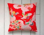 "Large Bright Japanese Vintage Kimono Fabric Pillow Cushion 'Pop Cranes' (15"" x 15"")"