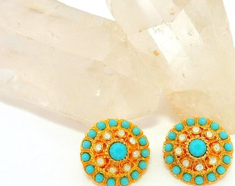 Sarah Coventry Earrings - Clip on Button Style - Turquoise Beads - Clear Rhinestones - Gold Toned Setting - 1970s Era Jewelry