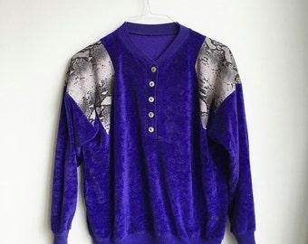 Vintage Purple Terrycloth Sweater, Snakeskin Trim, 80s Pullover