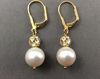 Gold Pearl Earrings Bridesmaids Gifts In Crystal Gold Rhinestone Balls And White Swarovski Crystal Pearls
