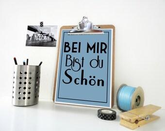 Love Art Print, Bei Mir Bist Du Schön, Lyrics Print, Typography Poster, Vintage Poster, Valentine Gift, German Poster, in Blue or White
