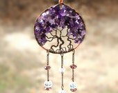 Tree of Life Amethyst Sun-catcher ornament,  Purple Tree of life home decor, Mothers Gift, Valentine Gift, Amethyst Family Tree, Pieces