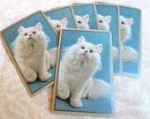 6 White Kitten Vintage Playing Cards