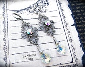 AB Crystal Victorian Earrings, Bridal Earrings, Victorian Jewelry