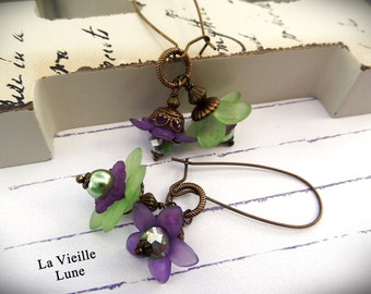 Purple and Green Flower Duo Earrings, Victorian Earrings, Victorian Flower Jewelry