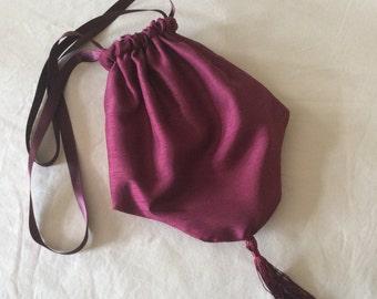 Regency Reticule,Bag. Victorian. Jane Austen. Wine Red Faux Silk.