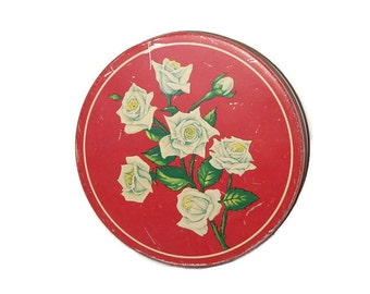 Vintage Candy Tin Red Sweetheart Candy Tin White Roses Long Green Rose Stems Mid Century Vintage Floral Tin, Storage Organization Container