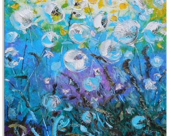 Dandelion rain - Original Large Floral Oil Painting on Canvas Palette Knife by SOLOMOON - gallery fine art ready to hang impasto