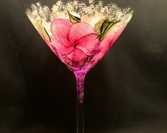Hand Painted Martini Glass - Crystal  - Pink Floral