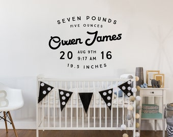 Personalized Baby Announcement Wall Decal - Custom Nursery Decor - Shower Gift Baby Name - WAL-2365