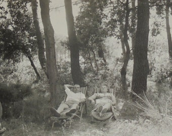 Vintage French Photo - 'Taking a Break' Couple on Deckchairs in the Woods