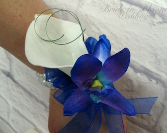 Wrist corsage Blue orchid white calla Wedding or Prom corsages