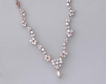 Rose Gold Crystal Necklace, Pearl & Crystal Bridal Necklace, Pink Gold Crystal Bridal Jewelry, Collier de Cristal ASHLEY RG
