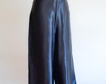 1940s Black satin palazzo trousers / 40s wide leg waisted pants - XS S