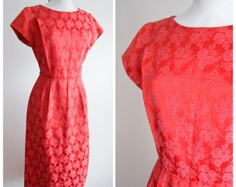 1950s 60s Red satin wiggle dress / 50s rose pattern cocktail dress - Forever Young Puritan M