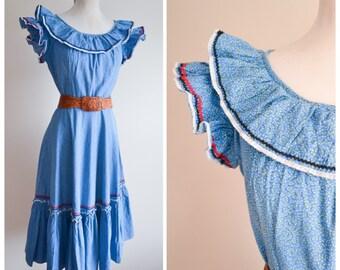 1940s Blue printed cotton ricrac day dress / 50s leaf print ruffle lace dress - S