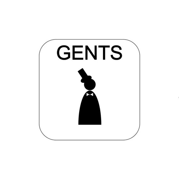 Men Bathroom / Gent / vinyl sign / decal / Restroom sign / Toilet decal / Gentlemen