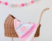 Christmas baby quilt Crochet blanket , Crochet baby blanket , crib blanket , baby girl pink afghan , stroller blanket , pink blanket,