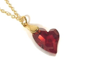"""Red Swarovski Heart Pendant with 18"""" Gold Chain"""