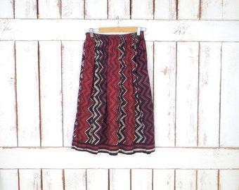 Vintage sheer gauzy cotton tribal print Indian skirt/chevron/zig zag block print skirt/short festival skirt