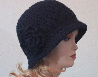 Navy Cloche Hat with Flower - Ladies SIzes - *Choose Size* - Hand Crocheted - Soft Acrylic Yarn - Navy Blue color - Handmade