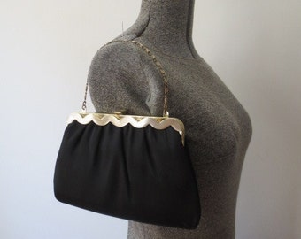 Gorgeous 60s Harry Levine HL Black Satin Purse with Wavy Scallop Detail