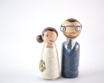 Nerdy Cake Topper - geeky cake toppers - wood nerd cake topper - geek wedding - peg people cake toppers - wooden peg people - nerd wedding