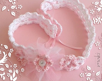 MADE with HEART baby headband Crochet pattern - Full of large pictures! Perfect for special occasion like Christening! Pattern No. 167