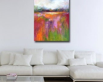 Abstract Landscape Painting Print, Large Giclee Print, Wall Art, Large Landscape Print, Modern Landscape Art, Red, Pink and Green Landscape