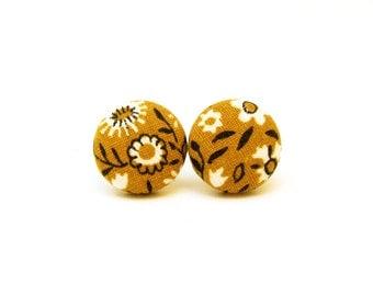 Mustard yellow earrings - yellow stud earrings - yellow fabric earrings - tiny button earrings bright sunny happy