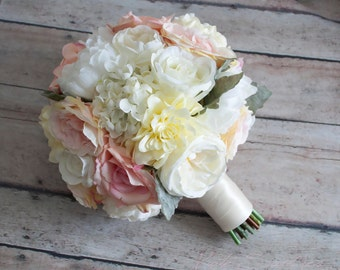 wedding bouquet blush pink and ivory garden rose peony and hydrangea wedding bouquet - Garden Rose And Peony Bouquet