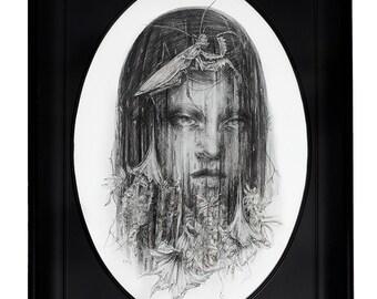 Original Art Iridescent Leaf Metallic Veil Spring Pencil Illustration in Vintage Oval Frame
