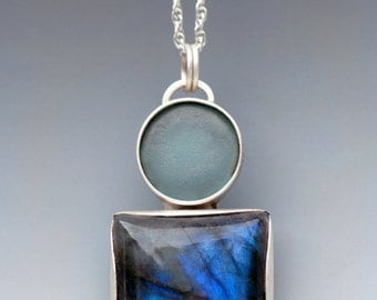 Sterling Silver Beach Glass and Labradorite Necklace