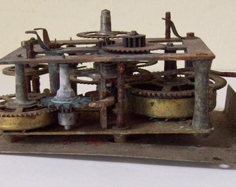 Vintage Clock Gears, Parts, Movement, Westclox Works for Repurposing - Steampunk - Antique, Old