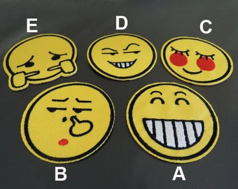 Emoji Patch - New Face Patches Yellow patch Smile Emoji Patches Applique embroidered patch Iron On Patch Sew On Patch