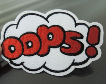 OOPS Letter Patches - Iron on Patch or Sewing on Patch Letter Patches Red White Patch OOPS Cloud Embellishments Embroidery fonts