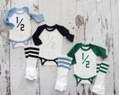 Baby Boy HALF 1/2 .5 Birthday Bodysuit and Football Striped Leg Warmers.  Jersey, Football Party, Green, Baby Blue, Navy Blue. 1st Birthday