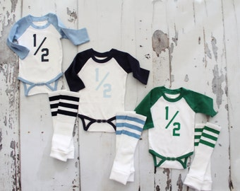 Baby Boy HALF 1/2 .5 Birthday Bodysuit and Football Striped Leg Warmers.  Althletic Jersey, Football Party, Green, Baby Blue, Navy Blue.