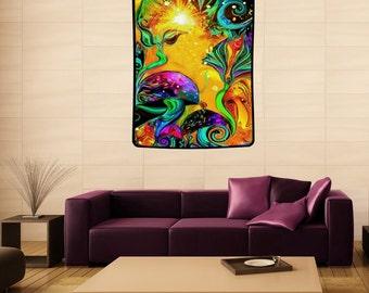 "Fairy Art Tapestry, Mushroom Decor, Large Fantasy Art 40"" x 50"" Tapestry ""Waking Life"""