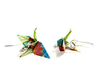 Tiny Origami Crane Earrings Bright Green Floral 3/4""
