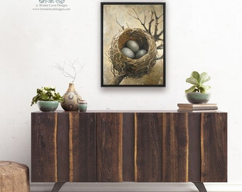 Three Bird Nest Art, Framed Large Art Print, 3 Bird Nest Art Print on Canvas, Large Wall Art Prints, Bird's Nest Art Print, Bird Nest
