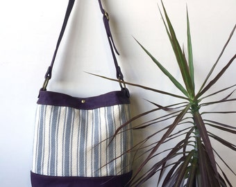 Ready to ship hand woven tote- purple handwoven tote- leather totebag- handwoven totebag- leather tote- ooak