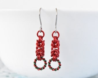 Red Earrings - Drop Earrings - Dangle Earrings - Hypoallergenic - Chainmaille - Chain Earrings - Christmas Jewellery - Gift for Her
