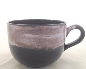 Latte Cappuccino Mug - Soup Bowl - Black White Brown - Large Ceramic Handled Bowl - 32 ounces